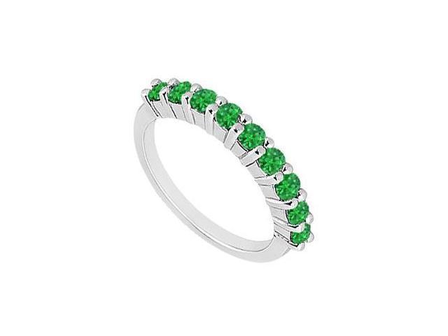 Emerald Wedding Band  14K White Gold - 1.00 CT TGW