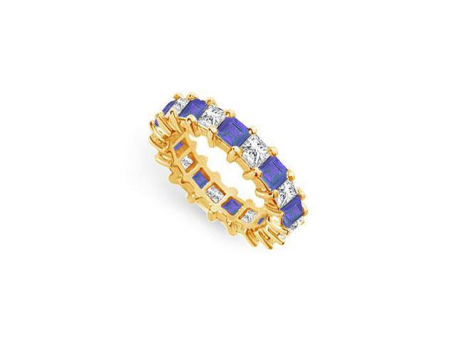 Diamond and Blue Sapphire Eternity Band  14K Yellow Gold  4.00 CT TGW