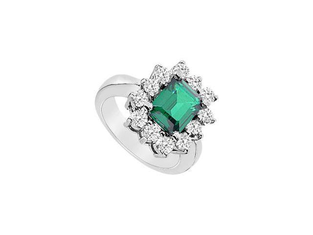 Frosted Emerald and Cubic Zirconia Ring 10K White Gold 4.50 Carat Total Gem Weight