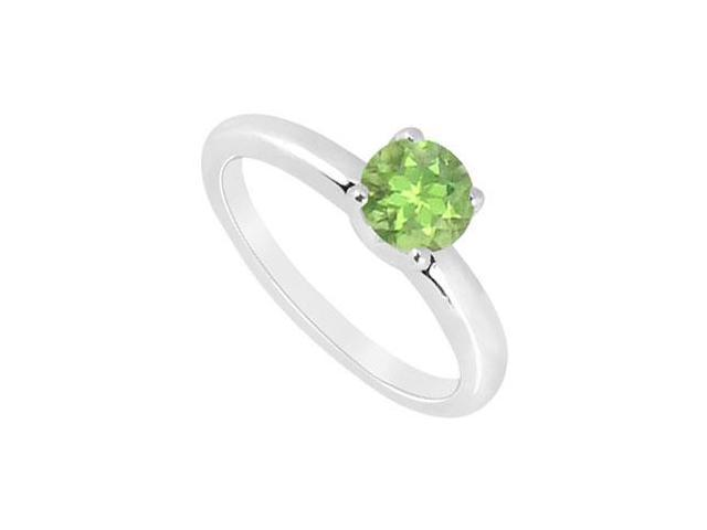 Peridot Ring  14K White Gold - 1.00 CT TGW