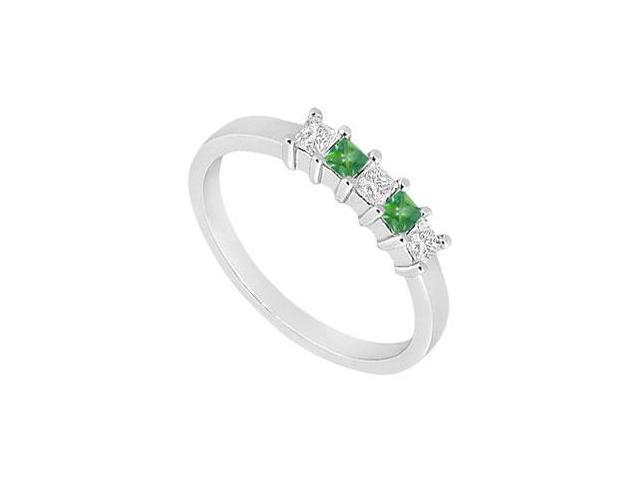 Emerald and Diamond Wedding Band  14K White Gold - 1.00 CT TGW
