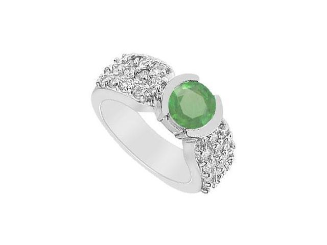 Emerald and Diamond Ring  14K White Gold - 2.00 CT TGW
