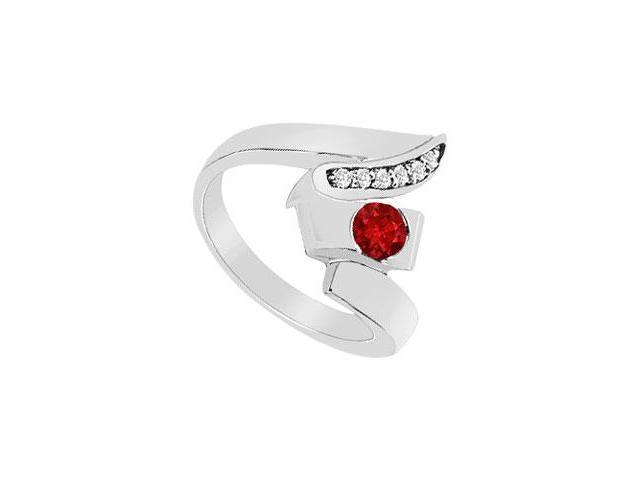 Ruby Zig-Zag Ring  14K White Gold - 0.33 CT TGW