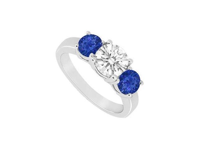 Three Stone Sapphire and Diamond Ring  14K White Gold - 1.50 CT TGW