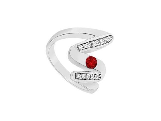 Ruby Zig-Zag Ring  14K White Gold - 0.50 CT TGW