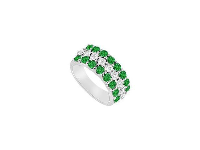 Emerald and Diamond Wedding Band  14K White Gold - 1.25 CT TGW