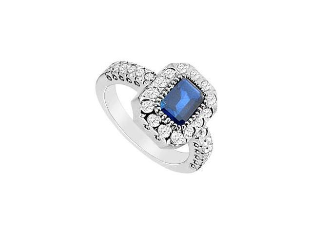 Diffuse Sapphire and Cubic Zirconia Ring 10K White Gold 3.50 Carat Total Gem Weight