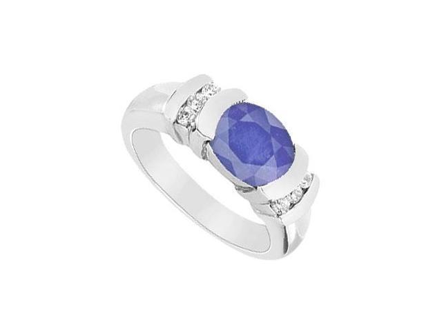 Sapphire and Diamond Ring  14K White Gold - 3.25 CT TGW