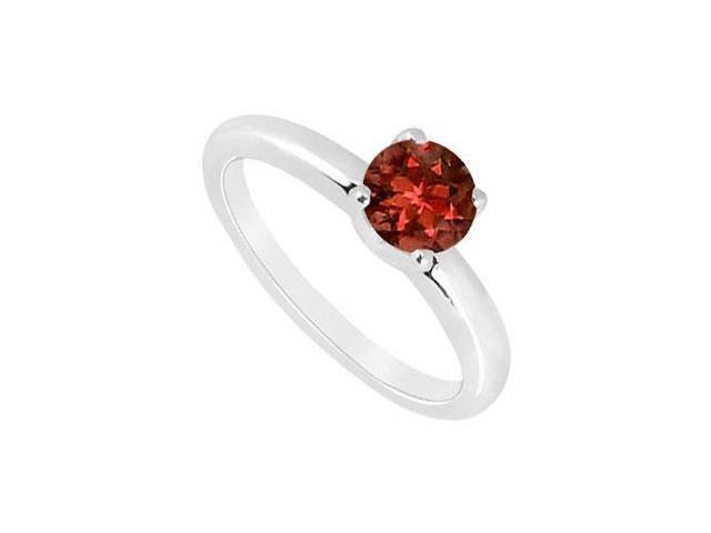 Garnet Ring  14K White Gold - 1.00 CT TGW