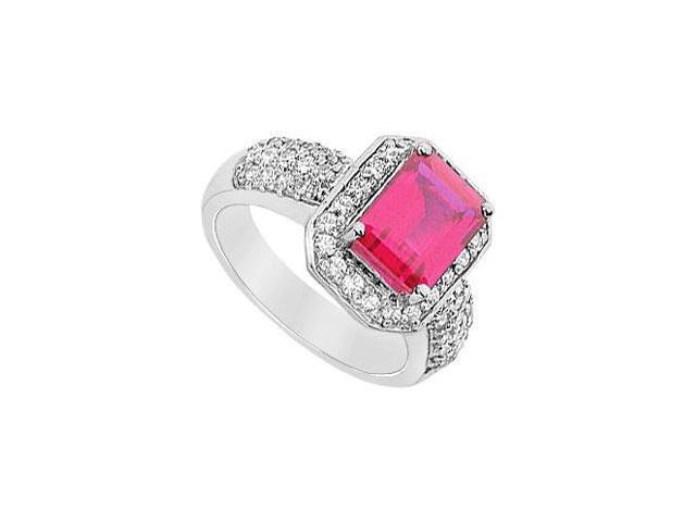 GF Bangkok Ruby and Cubic Zirconia Ring 10K White Gold  3.25 Carat Total Gem Weight