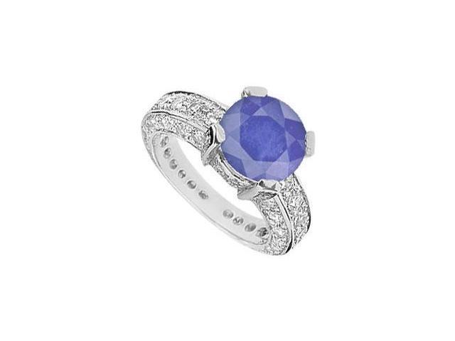 Sapphire and Diamond Ring  14K White Gold - 5.00 CT TGW