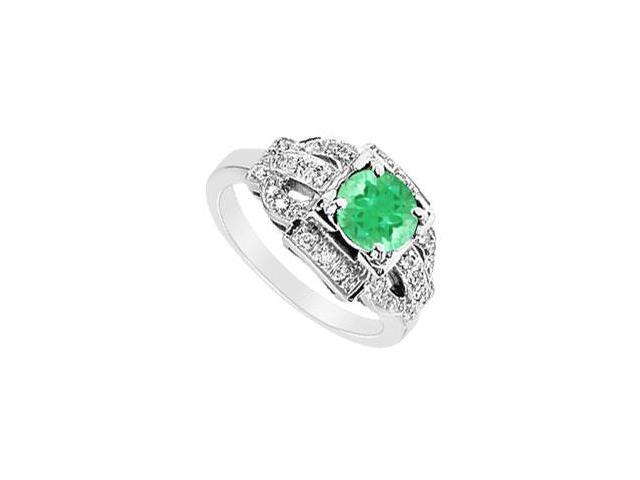Emerald and Diamond Ring  14K White Gold - 1.25 CT TGW