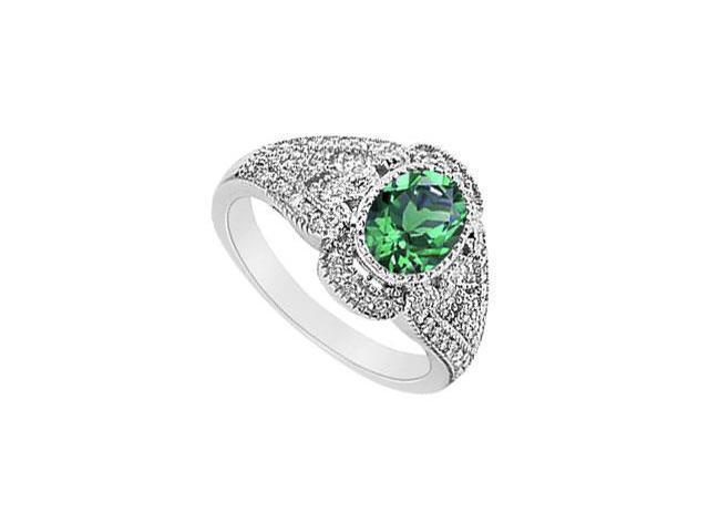 Emerald and Diamond Ring  14K White Gold - 1.50 CT TGW