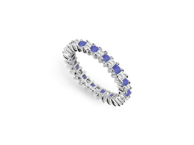 Diamond and Blue Sapphire Eternity Band  14K White Gold  2.00 CT TGW