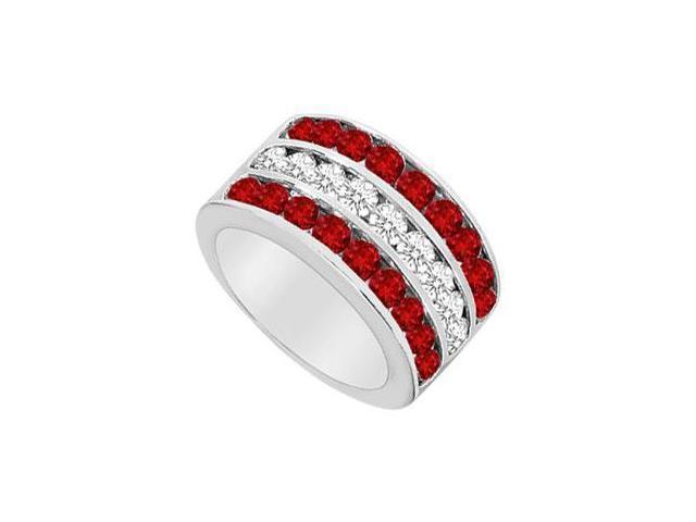 Ruby and Diamond Row Ring  14K White Gold - 2.50 CT TGW