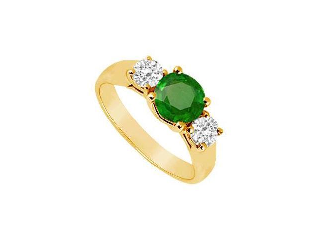 Three Stone Emerald and Diamond Ring  14K Yellow Gold - 0.50 CT TGW