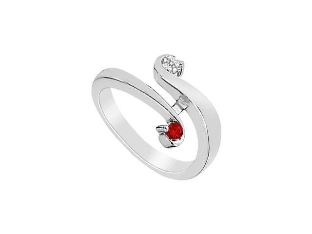 Ruby and Diamond Ring  14K White Gold - 0.20 CT TGW