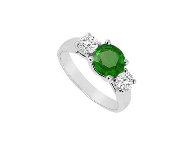 Three Stone Emerald and Diamond Ring  14K White Gold - 1.00 CT TGW
