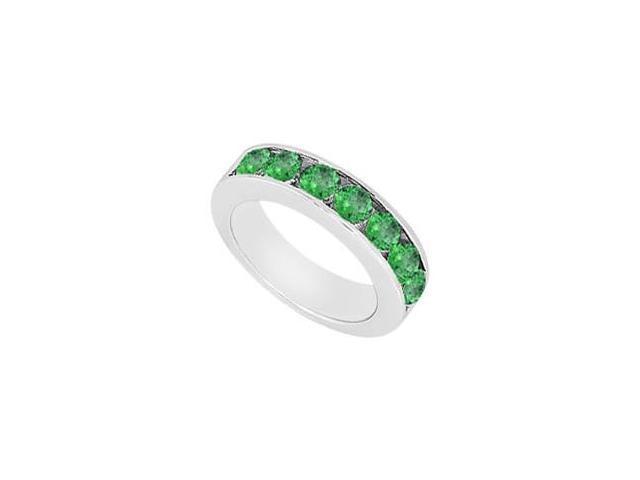 Emerald Wedding Band  14K White Gold - 0.50 CT TGW