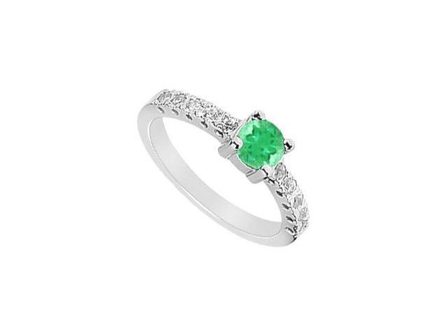 Emerald and Diamond Ring  14K White Gold - 0.75 CT TGW
