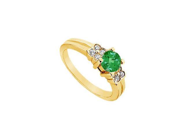 Emerald and Diamond Ring  14K Yellow Gold - 0.75 CT TGW