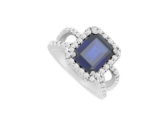 Diffuse Sapphire and Cubic Zirconia Ring 10K White Gold 3.25 Carat Total Gem Weight
