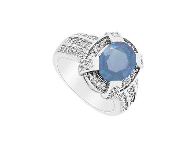 Sapphire and Diamond Ring  14K White Gold - 3.75 CT TGW