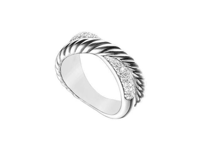Diamond Twisted Crossover Ring  14K White Gold - 0.50 CT Diamonds