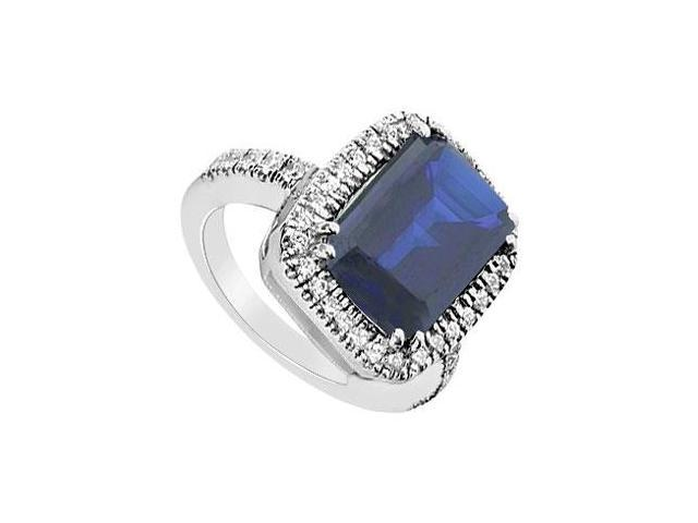 Diffuse Sapphire and Cubic Zirconia Ring 10K White Gold 8.75 Carat Total Gem Weight