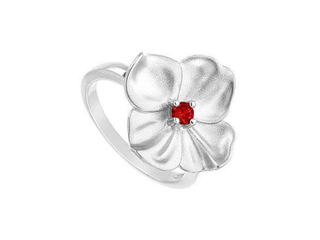 GF Bangkok Ruby Flower Ring .925 Sterling Silver  0.10 Carat Total Gem Weight
