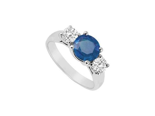 Three Stone Sapphire and Diamond Ring  14K White Gold - 1.25 CT TGW