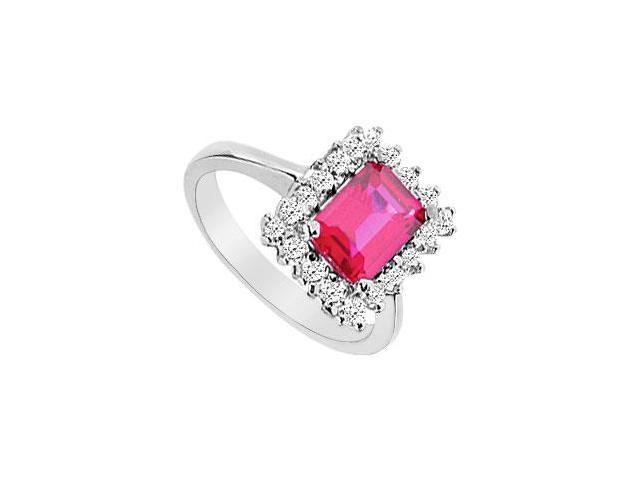 GF Bangkok Ruby and Cubic Zirconia Ring 10K White Gold  3.66 Carat Total Gem Weight