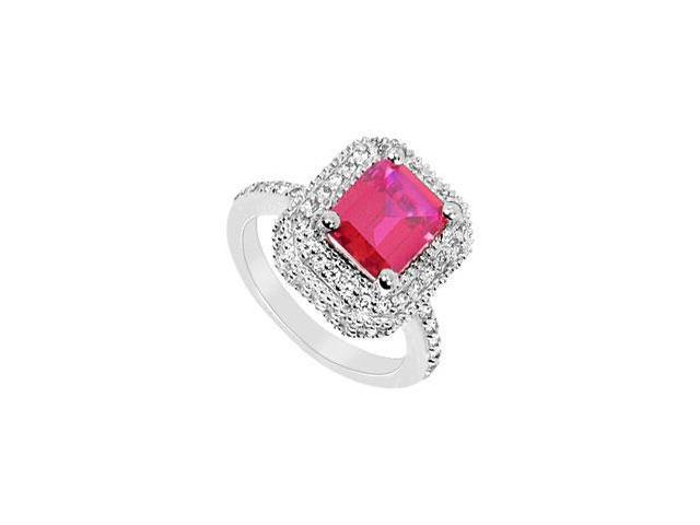 GF Bangkok Ruby and Cubic Zirconia Ring 10K White Gold  3.25 Carat Total Gem Weight