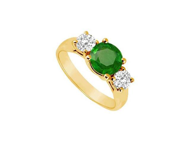 Three Stone Emerald and Diamond Ring  14K Yellow Gold - 1.25 CT TGW