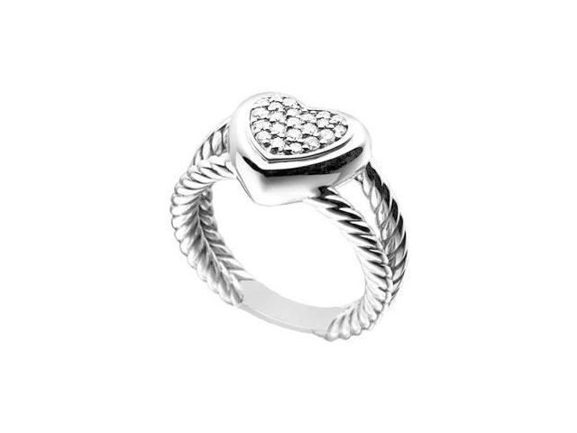 Diamond Heart Rope Ring  14K White Gold - 0.25 CT Diamonds