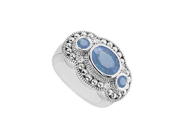 Sapphire and Diamond Ring  14K White Gold - 2.50 CT TGW