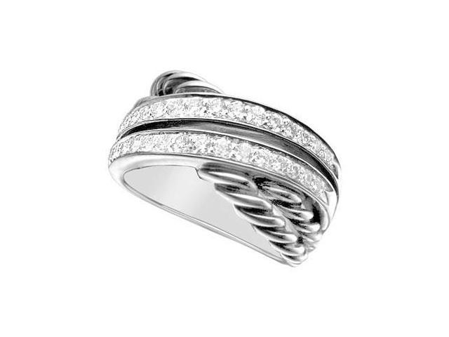 Diamond Crossover Rope Ring  14K White Gold - 1.00 CT Diamonds