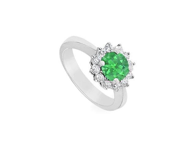 Emerald and Diamond Ring  14K White Gold - 1.50 CT TGW