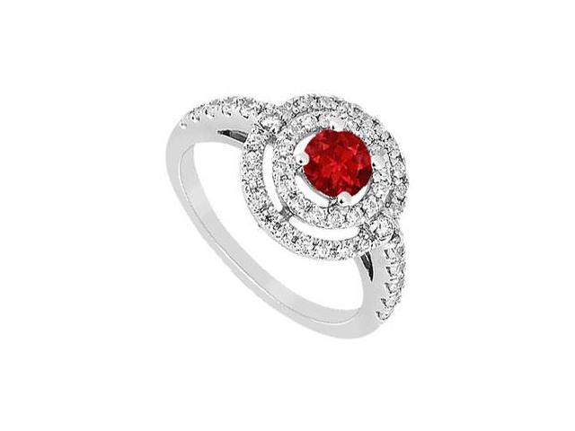 GF Bangkok Ruby and Cubic Zirconia Ring 10K White Gold 1.75 CT TGW