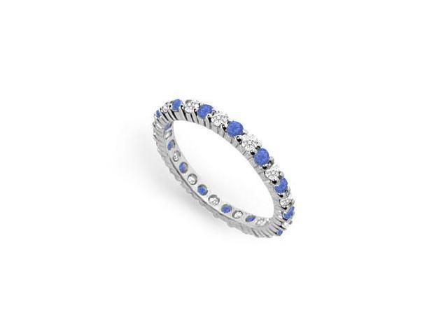 Diamond and Blue Sapphire Eternity Band  14K White Gold  1.00 CT TGW