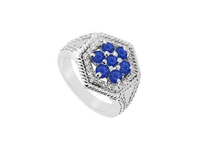 Sapphire and Diamond Flower Ring  14K White Gold - 1.50 CT TGW