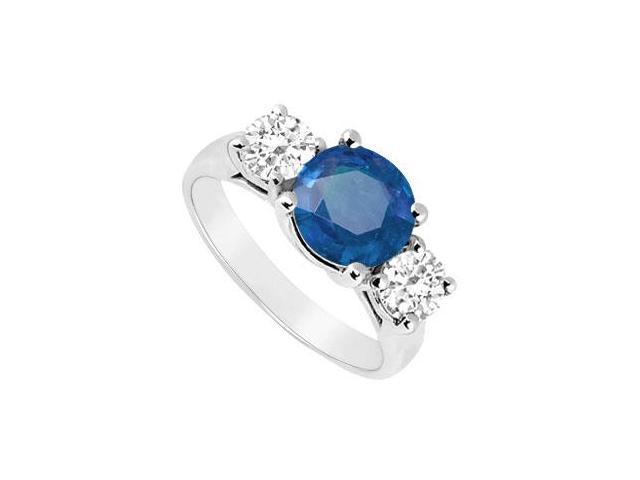 Three Stone Sapphire and Diamond Ring  14K White Gold - 2.50 CT TGW