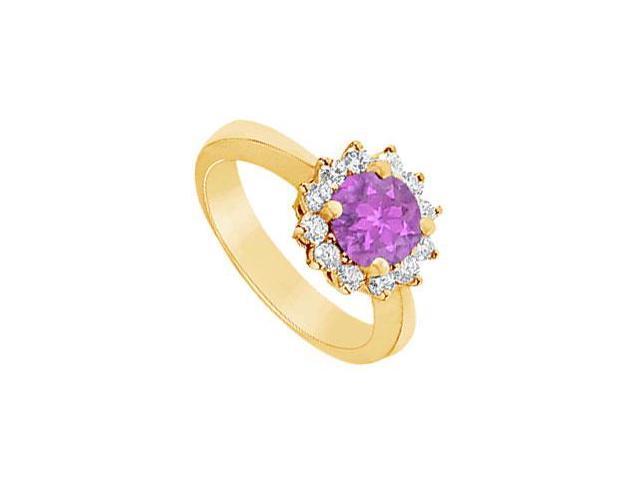 Amethyst and Diamond Ring  14K Yellow Gold - 1.50 CT TGW