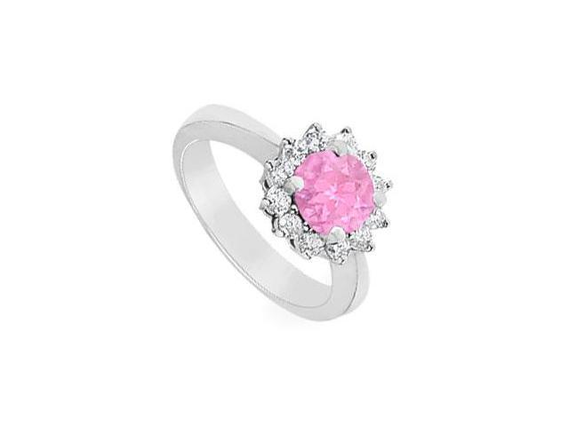 Pink Sapphire and Diamond Ring  14K White Gold - 1.50 CT TGW