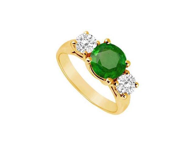 Three Stone Emerald and Diamond Ring  14K Yellow Gold - 2.00 CT TGW