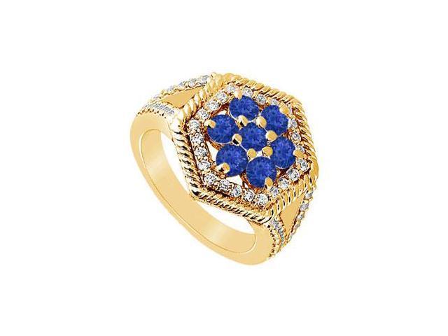 Sapphire and Diamond Flower Ring  14K Yellow Gold - 1.50 CT TGW