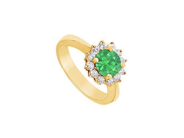 Emerald and Diamond Ring  14K Yellow Gold - 1.50 CT TGW