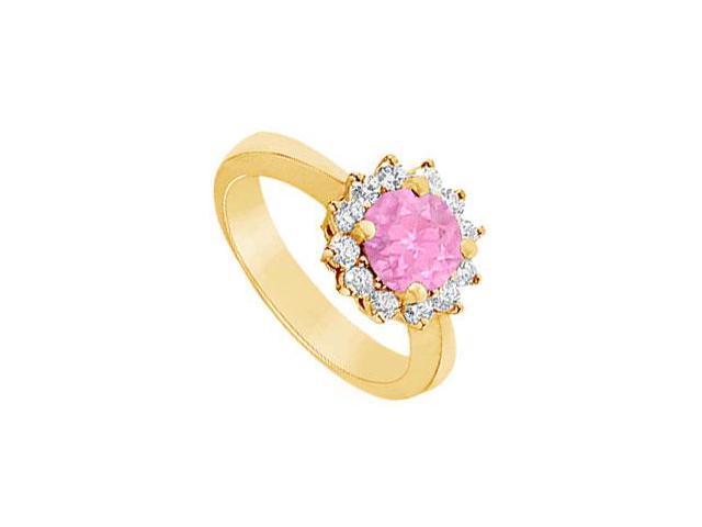 Pink Sapphire and Diamond Ring  14K Yellow Gold - 1.50 CT TGW