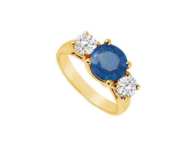 Three Stone Sapphire and Diamond Ring  14K Yellow Gold - 2.50 CT TGW