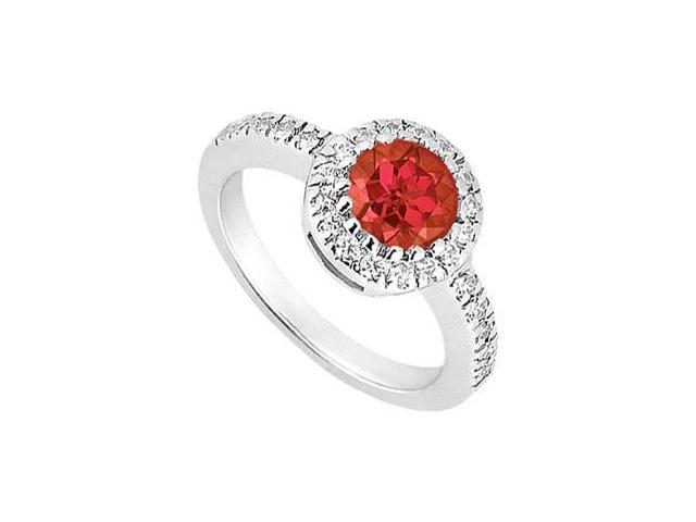 10K White Gold GF Bangkok Ruby and Cubic Zirconia Engagement Ring 0.75 CT TGW